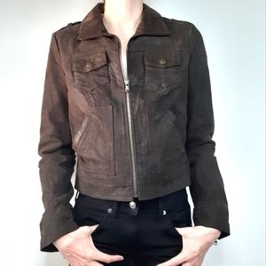 Levi's Brown Leather Lined Zip Jacket Size Small